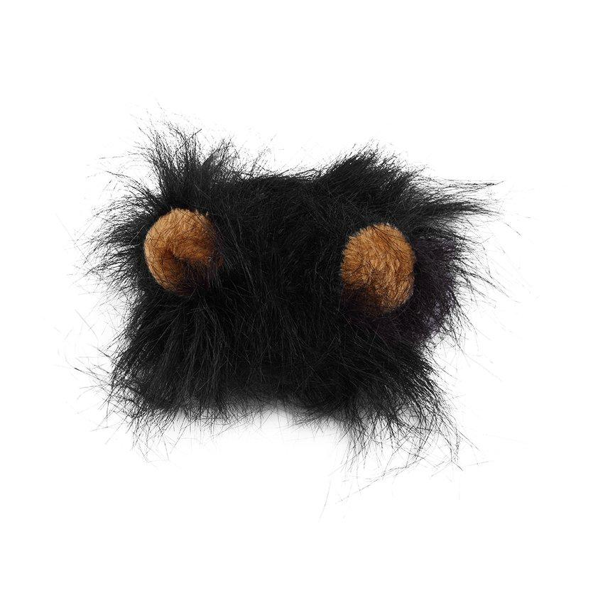 OH Pet Costume Lion Black Mane Wig for Cat Halloween Christmas Party Dress Up With Ear
