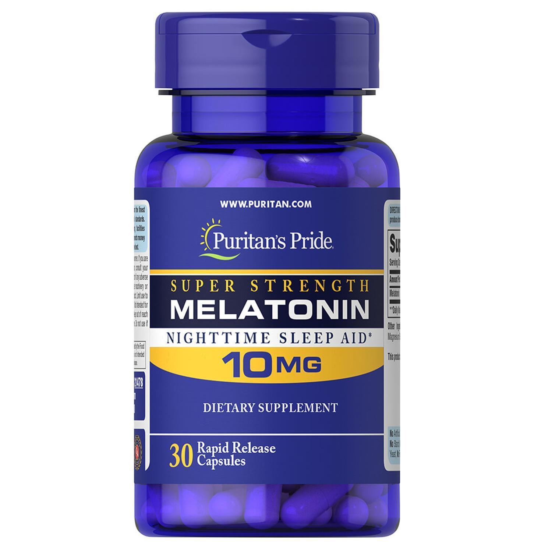 PURITAN'S PRIDE #21478 Melatonin 10mg Nighttime Sleep Aid, 30 Rapid Release Capsules