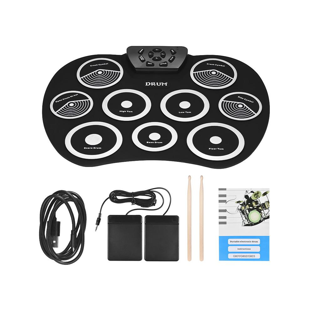 Portable Electronic Drum Set Roll Up Drum Kit 9 Silicon Pads USB Powered  with Foot Pedals Drumsticks USB Cable for Students Kids - intl