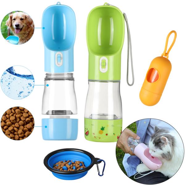 IWFRVU SHOP 2 trong1 Cốc nước Cat Slow Feeder Bowl Ngoài trời Thùng lưu trữ Chai nước uống cho thú cưng Máy rút thức ăn cho chó con Bình nước cho chó