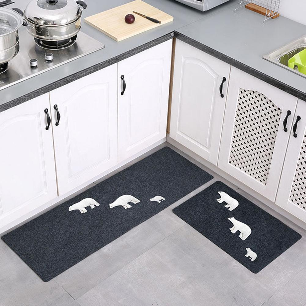 2Pcs Non Slip Water Oil Absorption Mats Carpet for Kitchen Style:Three bears 1#