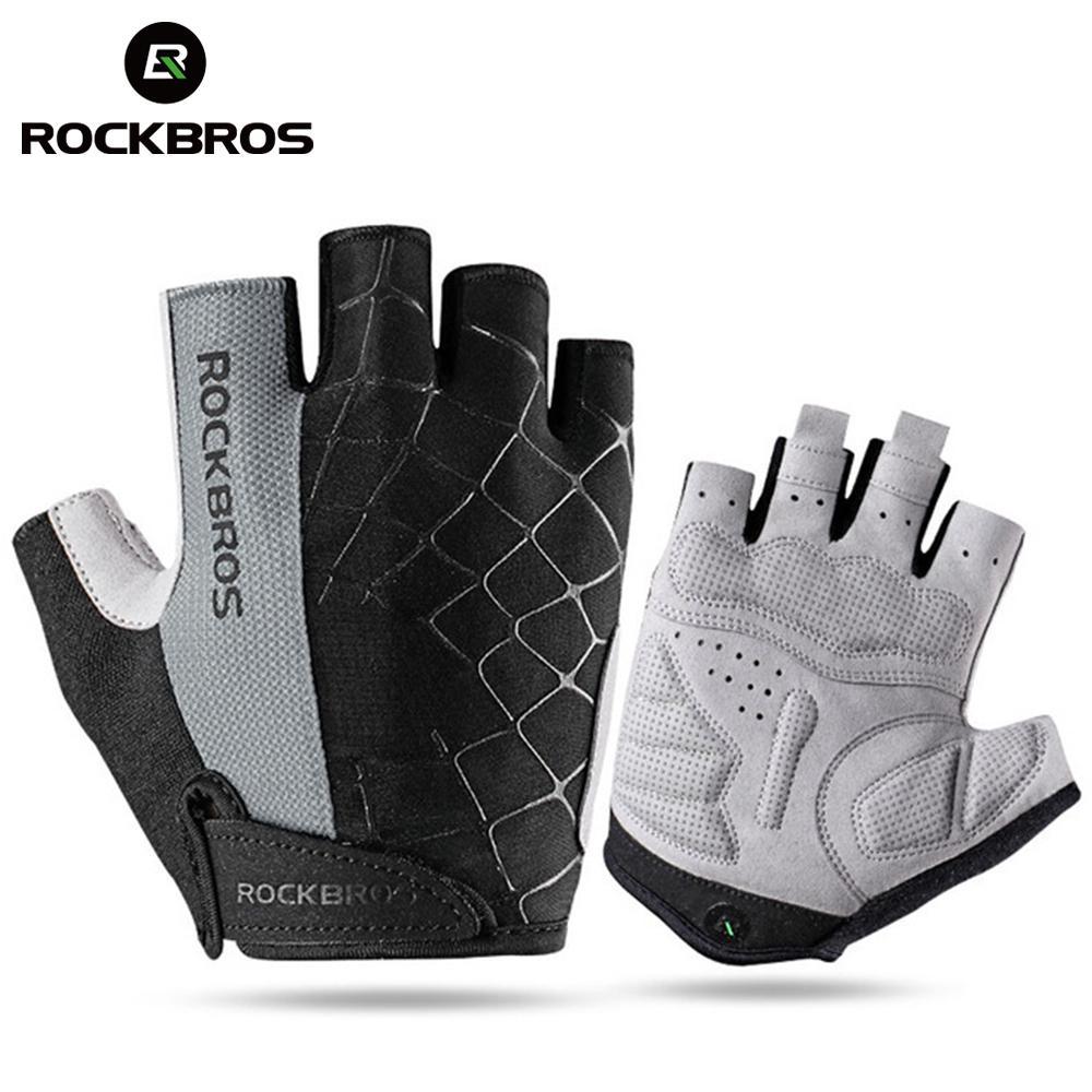 ROCKBROS Summer Cycling Bike Half Short Finger Gloves Shockproof Breathable MTB Road Bicycle Gloves Men Women