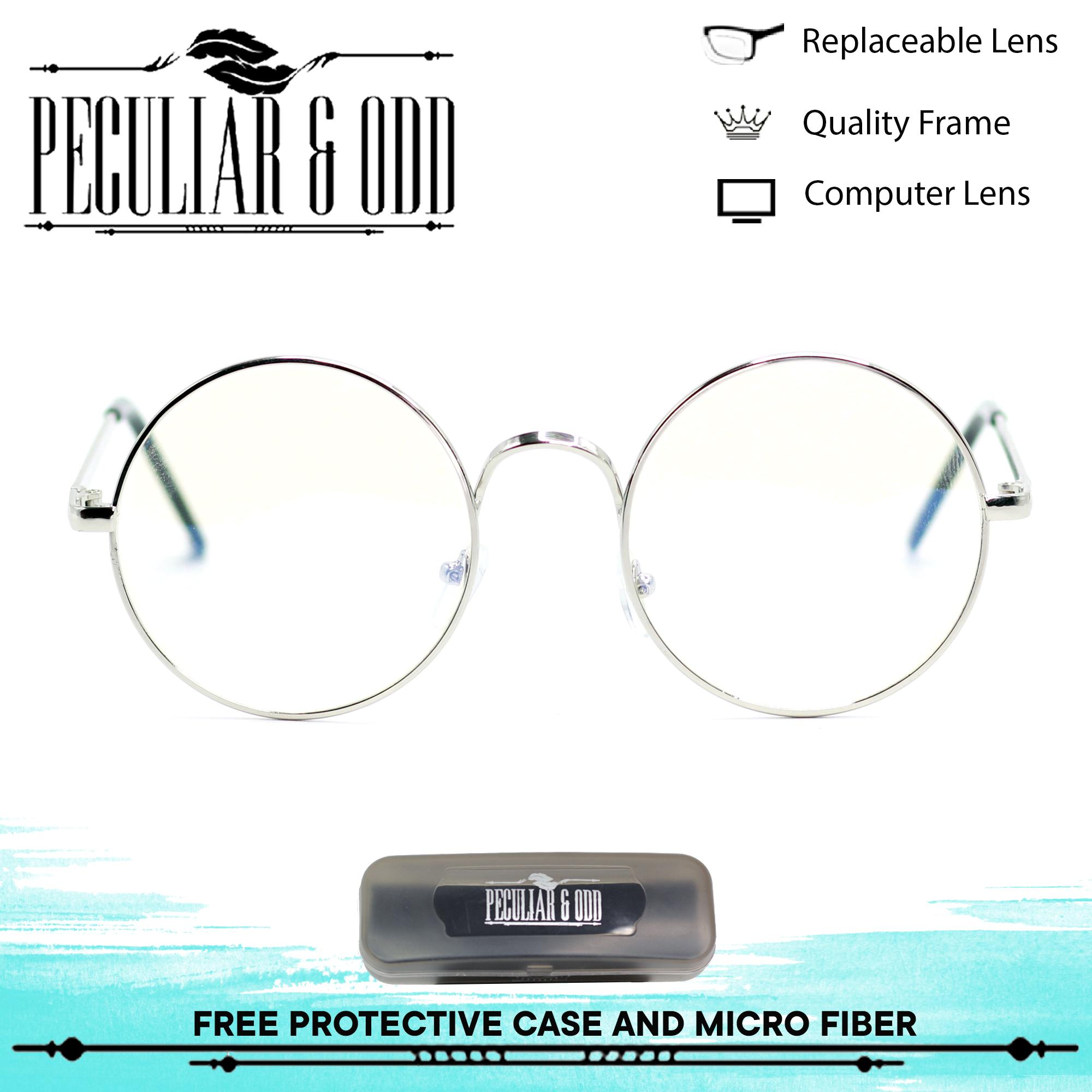 091349d51c Peculiar Round 3010 SilverClear Multi-Coated Anti Radiation Clear Blue Lens  Eyewear with Thin Metallic Frame