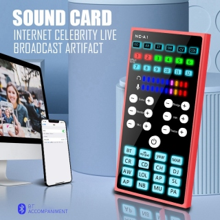 Bluetooth Sound Card Adjustable Noise Reduction Dual DSP Audio Processing Portable Sound Card with Colorful Lights thumbnail
