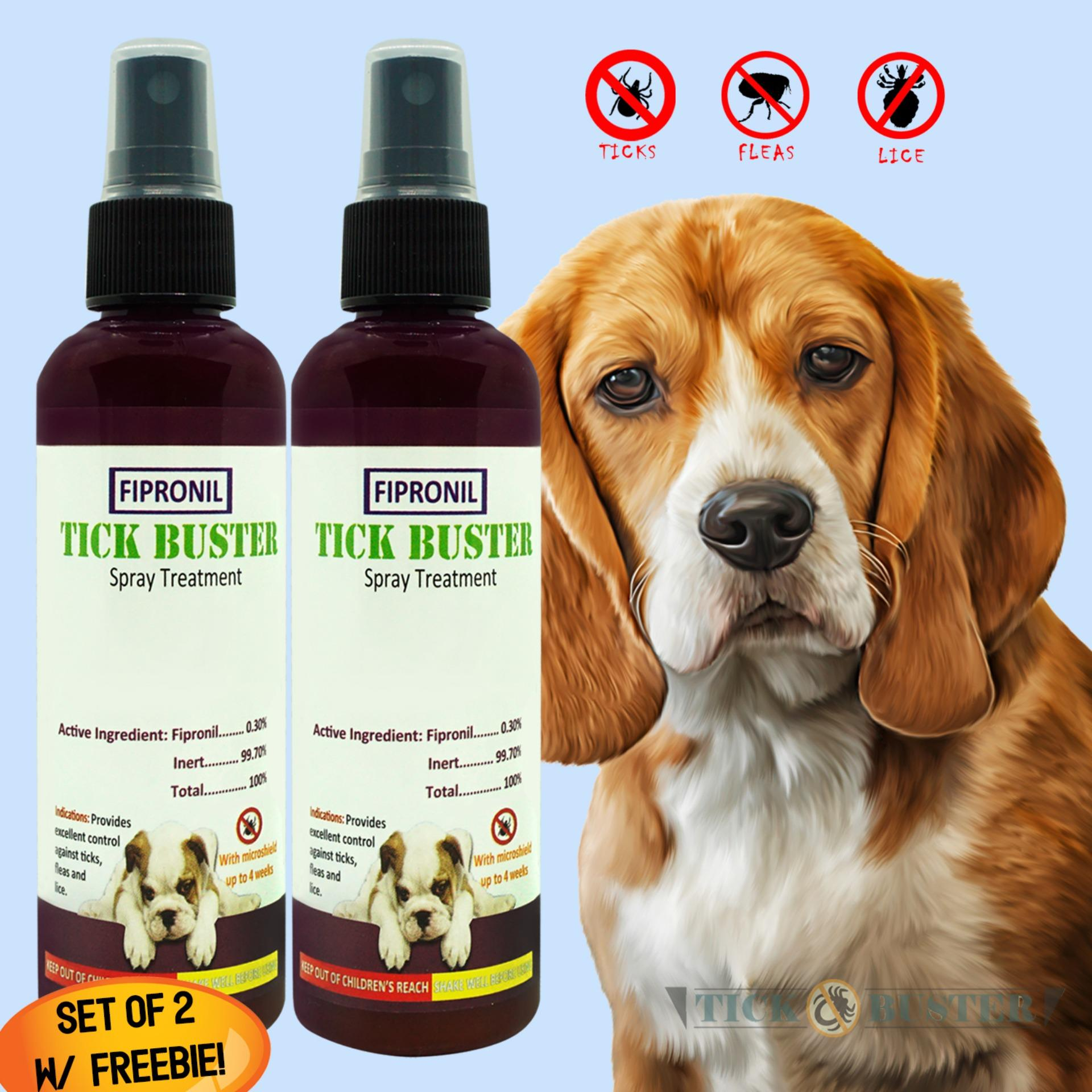 Tick Buster (anti Garapata, Pulgas, Kuto) Fipronil Pet Spray Treatment 100ml Set Of 2 Ticks Buster With Free Hugz Anti-Parasitic Deodorizing Powder 100g Give Away By Lkj.