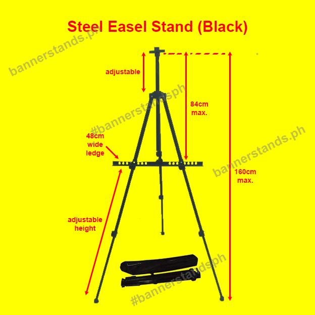Steel Easel Stand Folding Black Portable Adjustable Tripod Display Painting Art Canvas Menu By Bannerstandsph.