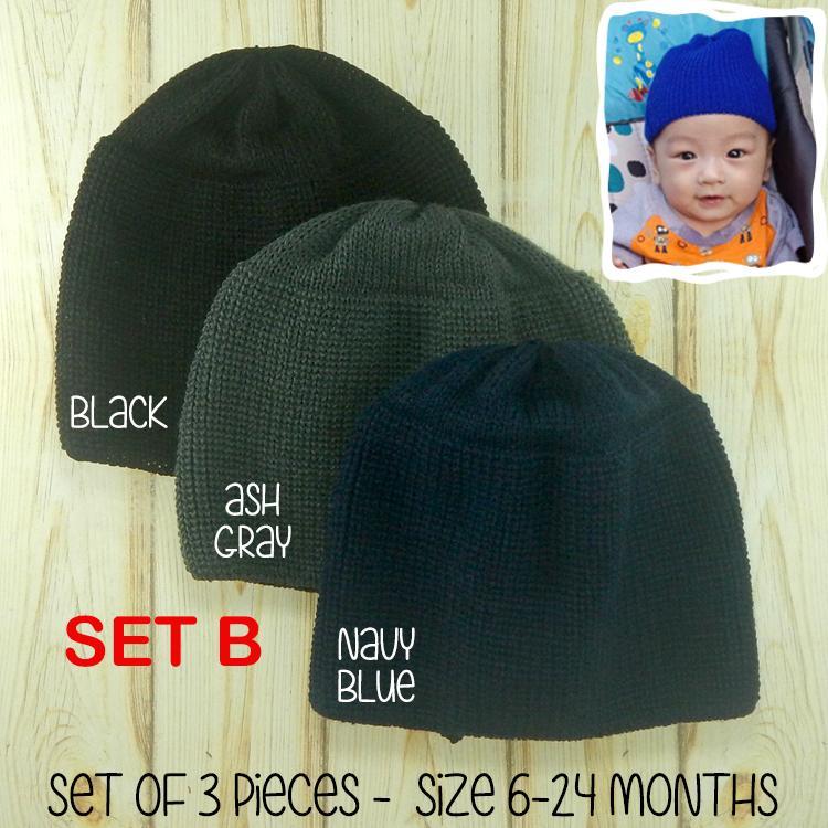 7c2cac33 BOPH Baby Beanie Hat Bonnet Cap 3 pieces set 6-24 Months Infant Head wear