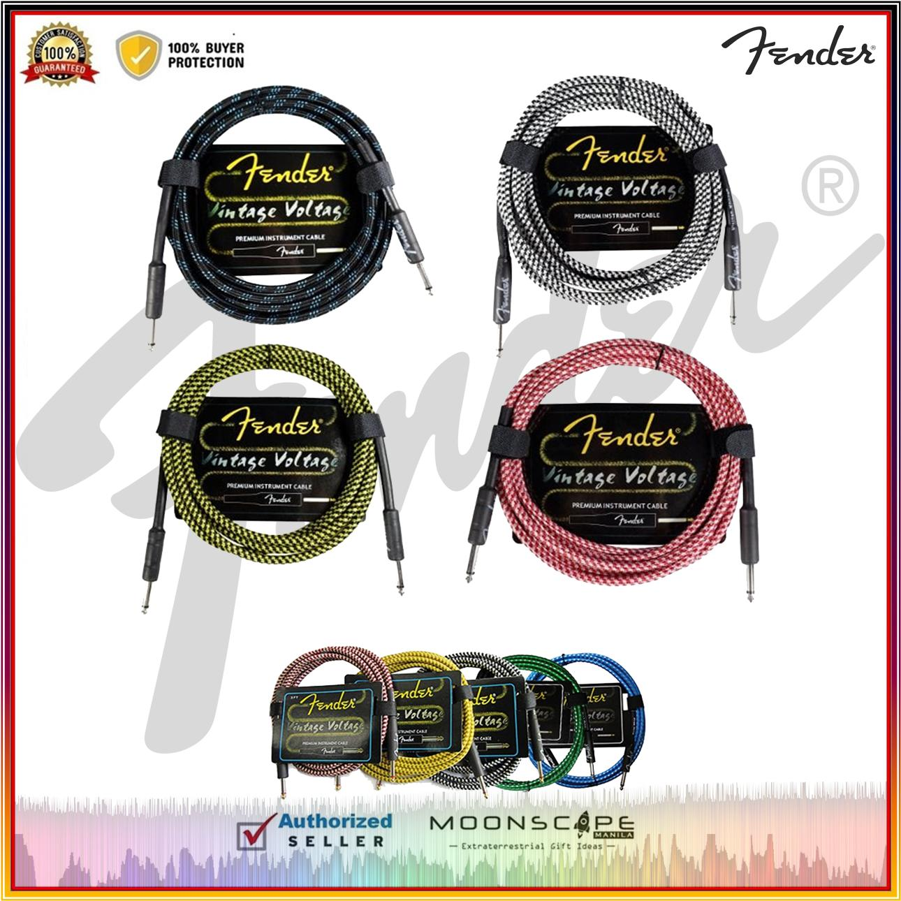 Fender Vintage Voltage Premium Instrument Cable (Straight-Straight Angle)  for Electric Guitar, Bass Guitar, Electric Mandolin, Pro Audio 3M