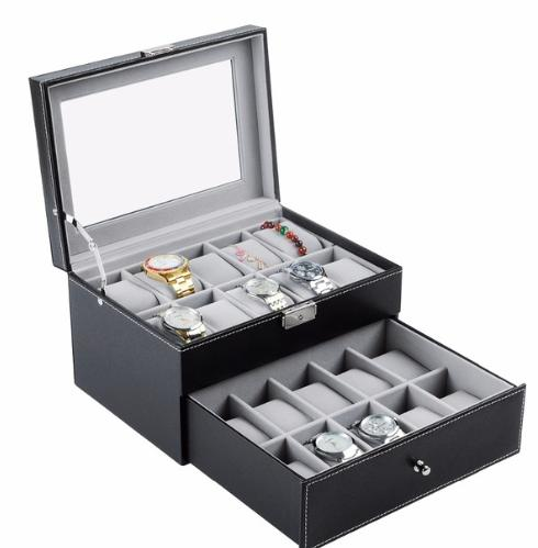 20 Grid Slots Jewelry organizer Watches Boxes Display Storage Box Case Leather Square jewelry Philippines
