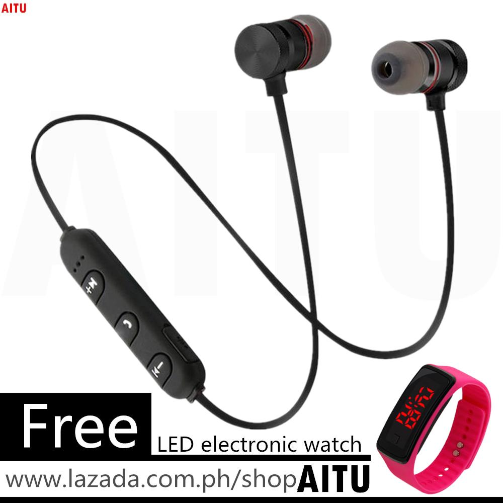 Bluetooth Earphone Magnetic Headphones Wireless Sports Headset Stereo Bass Music Earpieces with Free LED Watch