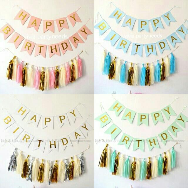 Happy Birthday Banner Letter +paper Tassel By Ah K Asta Store.