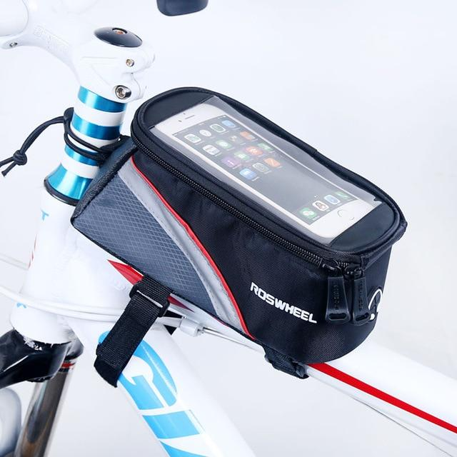 Friendly Rockbros Bicycle Frame Bag Touch Screen Phone Bag 6.0 Inch Black With Rain Cover Sale Overall Discount 50-70% Sporting Goods Bicycle Accessories