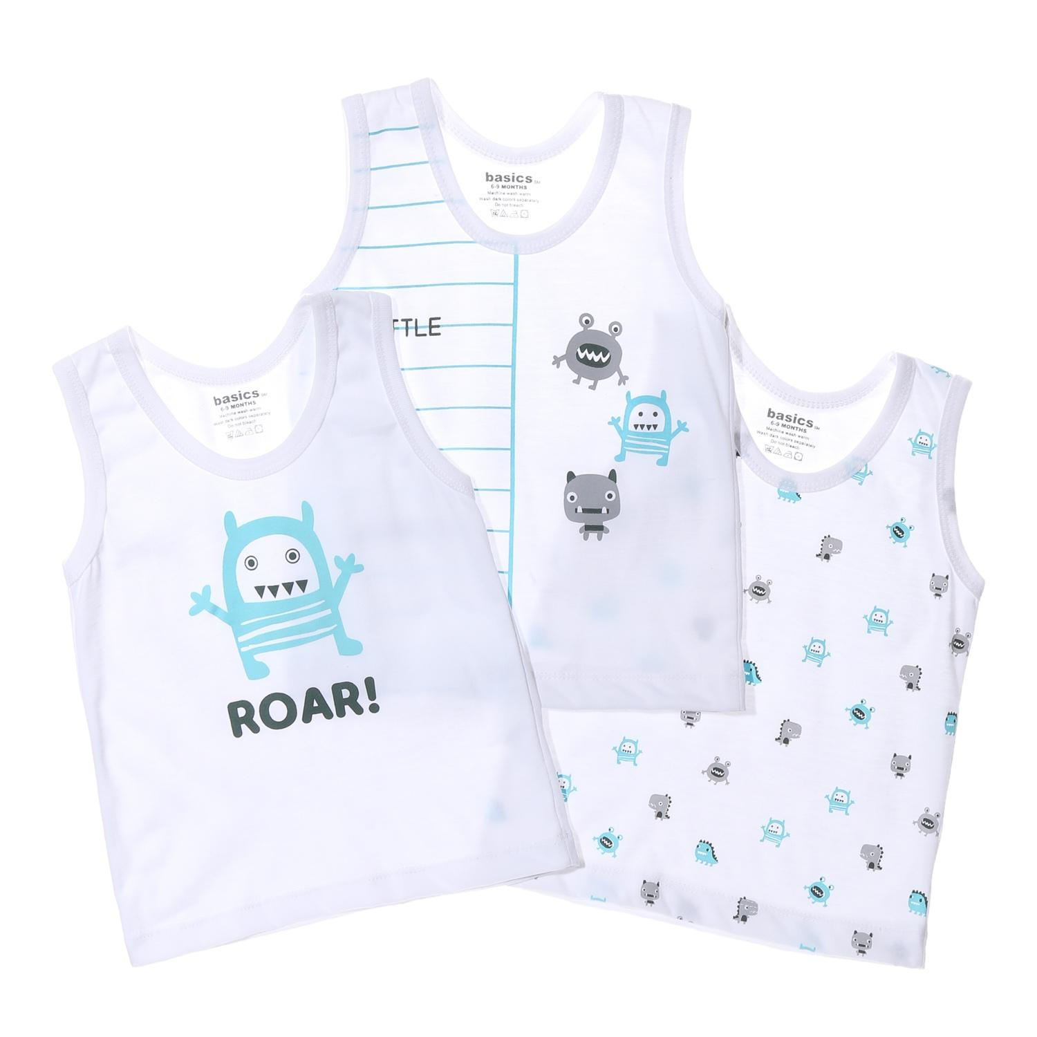 22df709d9457 SM Basics Baby Boys 3-piece Little Monsters Tank Set