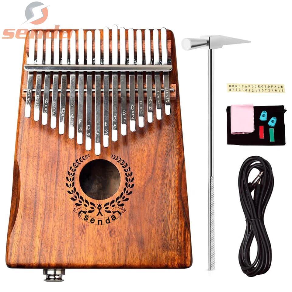 Senda Electroacoustic Kalimba 17 Keys Thumb Piano and Tune Hammer, Portable  Mahogany Body Piano Kit