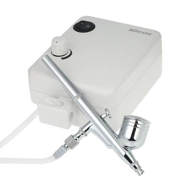 KKmoon Multi-purpose Dual Action Airbrush Mini Air Compressor Set Gravity Feed Air Brush Kit for Art Painting Tattoo Manicure Craft Cake Spray Model Air Brush Nail Tool Set 100-250V