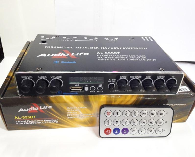 AL-555BT Audio Life 5 Band Parametric Equalizer FM/USB/BLUETOOTH Function  MP3/AUX with Subwoofer output