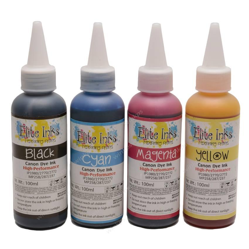 Canon Premium Elite Japan Dye Inks 100ml (cyan, Magenta, Yellow, Black) By Wink Printer Solutions.