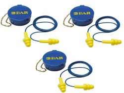 3M Ultrafit Reusable Flanged Ear plugs with NRR25 Case Set of 3