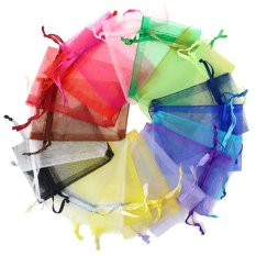 100 PCS Reusable Elegant Organza Drawstring Gift Candy Favor Bags Pouches for Wedding Party Festival Gift