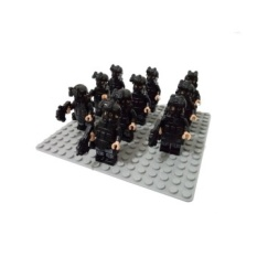 10pcs Minifigure SWAT C Policeman Special Forces Army CamouflageSoldiers Assault Troops with Weapon Building Block Brick