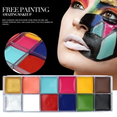 12 Colors Face Body Flash Tattoo Oil Painting Pigment Makeup Tool #2 - intl