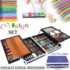 122 Pcs. Art Coloring Drawing Painting Set With Aluminum Alloy Case (blue) By Gonzalez General Merchandise.