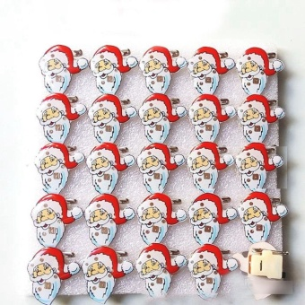 1PCS Christmas LED Flash Light Brooch Pin Badge Light Up Toys,Santa with Hat - intl