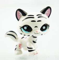 2'' Black & White Striped Cat Girl toys Blue Eyes Littlest Pet Shop LPS