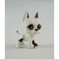 PHP 1.161 2 Inch Littlest Pet Shop LPS 750 White Brown Great Dane Dog PuppyBrown Eyes Girl Toys ...