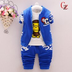 2017 Brand New Baby Boys Spring 3pieces Clothes Set Cartoon Bear Embroidered Jacket Coat +T