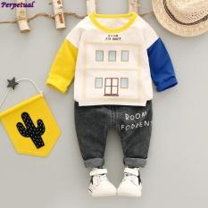 ... 2017 New Boys T Shirt Child Autumn Clothes Set long Sleeve Cartoon House Prints Top