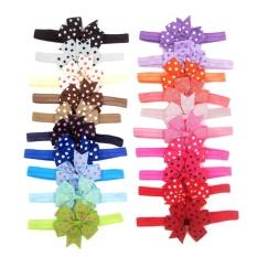 20Pcs Elastic Baby Girls Dot Printed Bowknot Headband Hair Accessories ( Multicolor) - intl