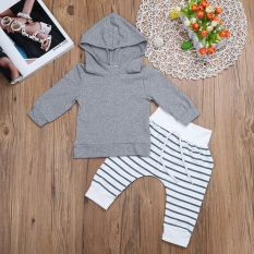 fcdd5d0e09a 2pcs Newborn Baby Boy Girl Cute Grey Hoodie Tops Long Trousers Outfit Clothes  0-3