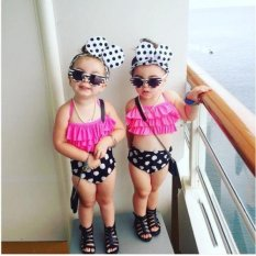 3pcs Baby Girls Summer Swimwear Bathing Suit Ruffles Tops +brief+headband Bikini Sets By Children Eden.