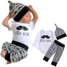 d77b2db26b3 3Pcs Set Newborn Infan Clothing Beards Printed Long Sleeve Romper + Pants +  Hat (
