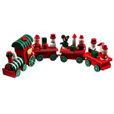 4 wooden christmas train ornament