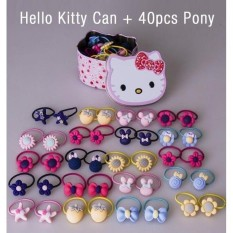 40 Pieces Pony Tail with Hello Kitty Can Floral Star Ribbon Strawberry Hair  Ties Random Color c2d32140366