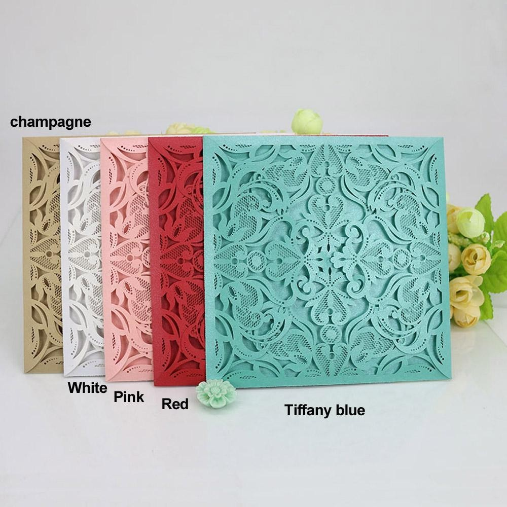 40pcs Delicate Carved Pattern Invitation Card For Wedding Party Pearl Paper Square Cards