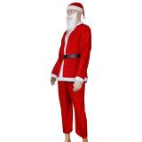 5pcs Adult Men Christmas Santa Claus Costume Suit Outfit One Size - thumbnail 3