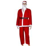 5pcs Adult Men Christmas Santa Claus Costume Suit Outfit One Size - thumbnail 2