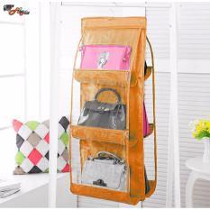 6 Pocket Large Clear Purse Handbag Hanging Storage Organizer Orange