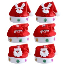 8f41dd9b0ea6e 6PCS Unisex Cute Children s Christmas Santa Claus Cap Hat with Christmas  Decoration for Kids Boys Girls
