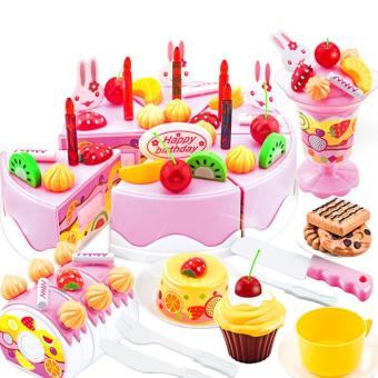 75 PCS Kids Children Plastic Educational Pretend Play Toys Kitchen Cake Dessert Toy Set Christmas Gift Toy for Over 3 Years Old Kids Pink - intl
