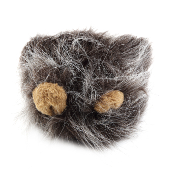 Allwin Pet Costume Lion dark grey Mane Wig for Cat Halloween Christmas Party Dress Up With Ear