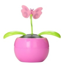 Automobile Decoration Solar Power Automatic Swing Apple Flowerpot Moving Dancing Butterfly Car Toy - Intl By Small Yellow Duck.