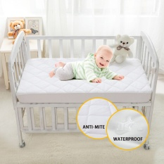 Baby Crib Bed Waterproof Mattress Protector, Brushed Fabric Quilted  Anti Mite Urine Proof