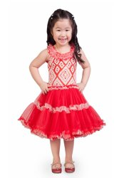 Baby Fashionista Lace Printed Tutu Dress (Red)