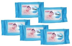 Baby Kingdom Baby Wipes 20's Milk Scent  Moisturizes and Protects Pack of  5