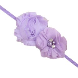 Baby Toddler Chiffon Double Flower Headband Hair Band Soft Fabric Simple Headwear Fashion Light Purple - Intl