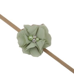 Baby Toddler Infant Chiffon Pearl Flower Hair Band Cute Soft Crystal Fabric Headbands Green - Intl